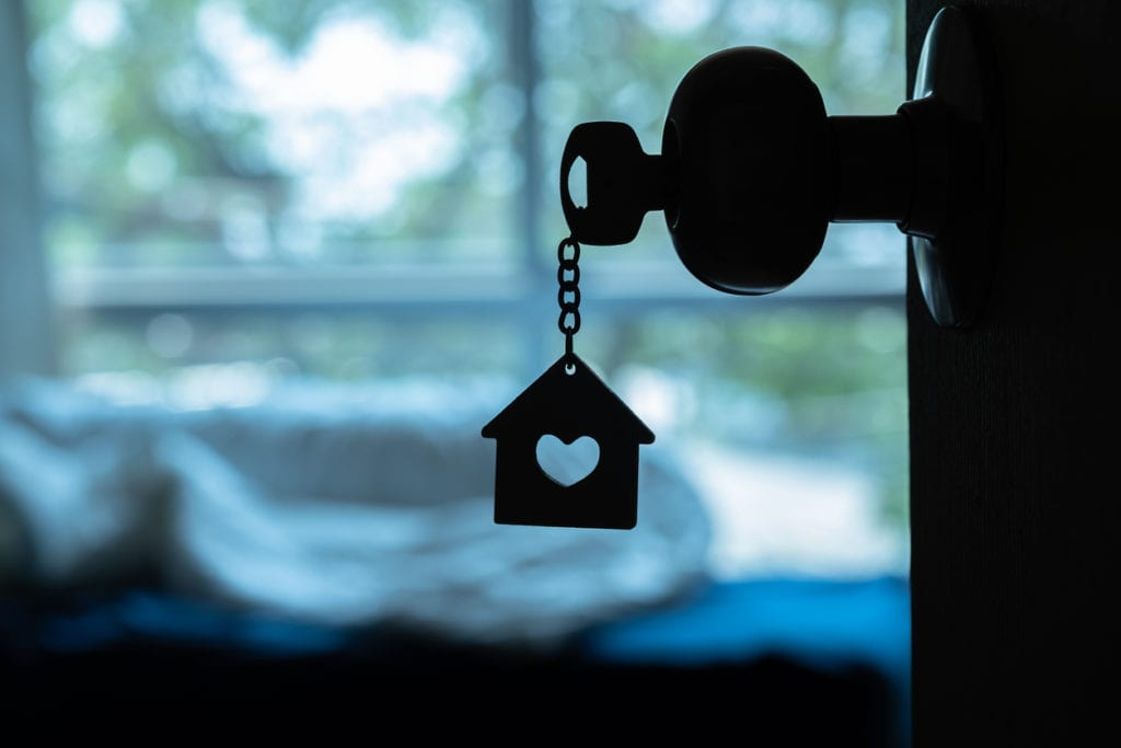 home keyring in keyhole